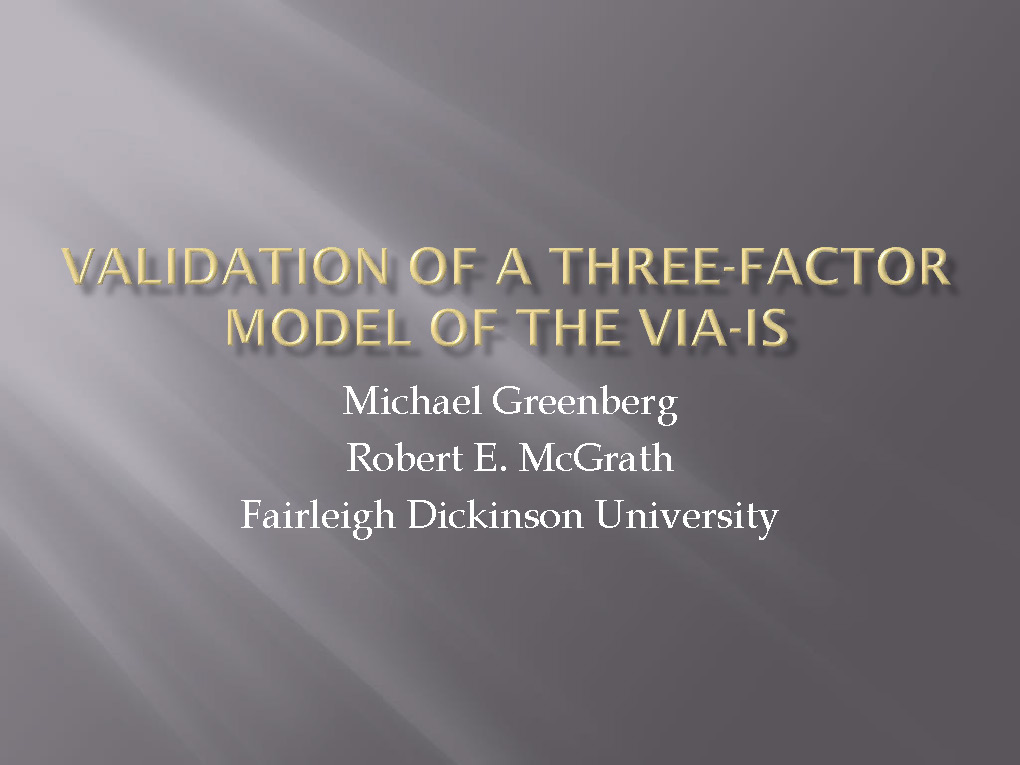 SY1.2 Validation of a Three-Factor Model of Character Strengths
